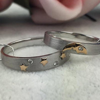 Moon and Stars 18k White Gold Yellow Gold Two Tones Diamond Wedding Ring Band Matching Set for His Hers Men Women Male Female Couple Pair