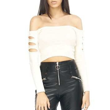 Off-the-Shoulder Cutout Arm Knit Sweater