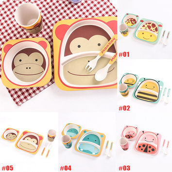 5Pcs/set Children Animal Bamboo Fiber Kitchen Dinnerware Tableware Set For Baby