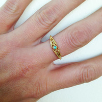 20% off- SALE!!! Blue Opal Ring - Round Opal - Gold Ring - Gemstone Ring - Tiny Simple Jewelry - Delicate Ring - Lace Ring - Opal Jewelry