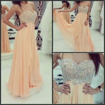 Champagne Prom Dress 2015 New Beaded Chiffon Long Party Evening Dress Custom