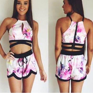 Purple Floral Print Strappy Cropped Top and Shorts