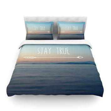 "Ann Barnes ""Stay True"" Coastal Typography Featherweight Duvet Cover"