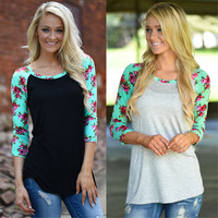 2016 Women Summer Flower Floral T Shirts 3/4 Sleeve O-Neck Casual Basic T Shirts Ladies Tee Shirt Femme Tops