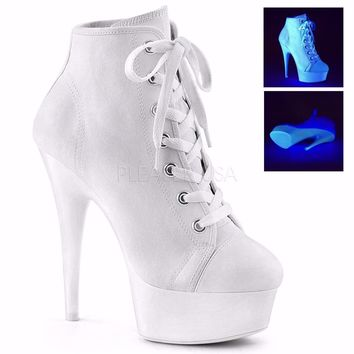 White Platform High Top Canvas Sneakers 6 Inch Heels- Stripper Shoes