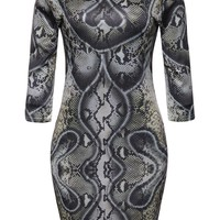 Casual Round Neck Animal Printed Hot Bodycon Dress