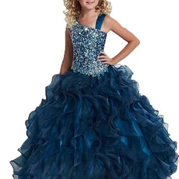 Ailimisi Little Girls' Spaghetti Floor Length with Beads Flower Girl Dress