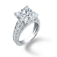 2.75 ct Lady's Princess Cut Center Stone and Round Cut Side Stone Diamond Engagement Ring in Platinum