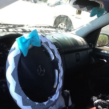 Dark Gray chevron steering wheel cover and rear view mirror cover with bow