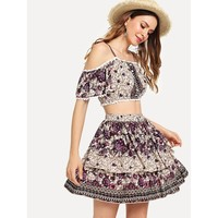 Mixed Print Cold Shoulder Top & Skirt Co-Ord
