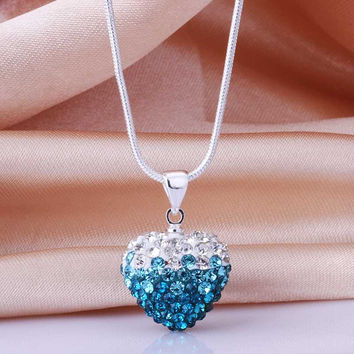 african beads necklaces white blue heart big necklace floating charms MP