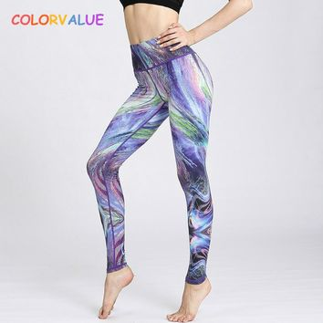 Colorvalue 3D Gradient Series Yoga Leggings Women Beautiful Printed Fitness Sport Leggings High Waist Dance Running Tights