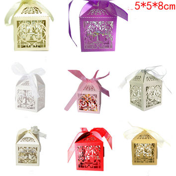 10Pcs 5*5*8Cm 10pcs Laser Cut Bird Candy Boxes Sweets Box Baby Shower Gifts Wedding Decorations Wedding Invitations Mariage