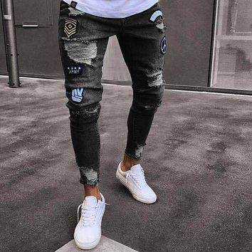 2018 Men Jeans Stretch Skinny Patchwork Hole Distressed Washed Casual Solid Male Denim Ripped Retro Slim High Quality Trousers
