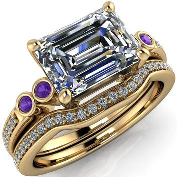 Philippa Emerald Moissanite 4 Amethyst Sides 4 Prong Under Bezel Multi Stone Engagement Ring