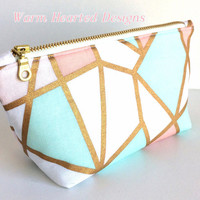 Small Makeup Bag, Pink Makeup Bag, Mint Green Makeup Bag, Geometric Makeup Bag, Small Zipper Pouch, Small Cosmetic Bag