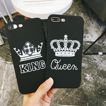 Phone case for iPhone X 8 8plus 7 7plus Crown King Queen black colored drawing soft TPU case for iPhone 6 6plus 6s 6splus