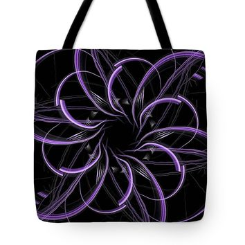 Purple And Black Abstract Fractal Tote Bag