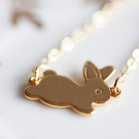 Easter Bunny Rabbit Necklace Gold Filled Chain Tiny Little Bunny Necklace Gold Plated Bunny Pendant Rabbit Jewelry - N124