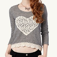 Crochet Heart Crop Sweatshirt