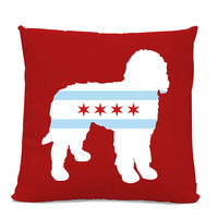 Chicago Flag Doodle Pillow - Chicago Home Decor - Doodle pillow - dog breed silhouette pillow - dog home decor - Dog Pillow - Labradoodle