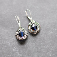Blue and Silver Beaded Earrings // Navy Blue Earrings // Navy Dangle Earrings // Sterling Earrings // Mother's Day Gift E048 by Indigo Lunch
