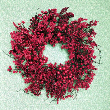 2 Red Berry Wreaths - Unlit