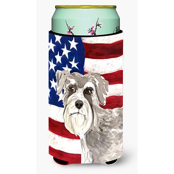 Patriotic USA Schnauzer #1 Tall Boy Beverage Insulator Hugger CK1718TBC