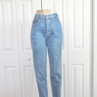 Vintage High Waisted Denim Jeans, Skinny Jeans, Made in USA, Stone Wash High Waist Jeans, Teens Womens Size 9 Waist 28