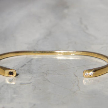 Gold Cuff Bracelet with Conflict-Free Black and White Diamonds, 18K Recycled Yellow Gold