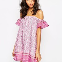 Little White Lies Off Shoulder Dress In Peacock Print