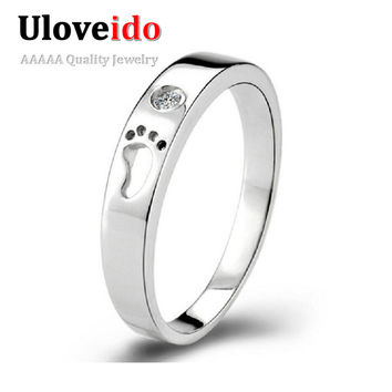 White 10.5 49% off Fashion Crystal Cute Little Feet Unisex Silver Rings for Men/Women Wedding Engagement Jewelry Big Sales Anillo Men J013