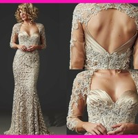 hot sexy backless 2018 Gorgeous Beaded Lace Mermaid Mother of the Bride Dresses party Gowns With weddings three quarter sleeves