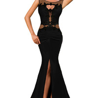 Lace Appliqued Mesh Cutout Metallic Black Party Gown