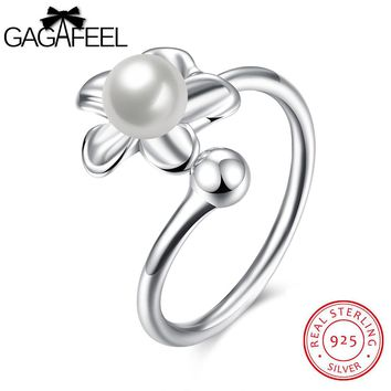 GAGAFEEL Flower Rings Elegant Original 925 Sterling Silver Ring Finger Accessorise Women Jewelry Simulated Shell White Color