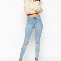 ASOS Ridley Skinny Ankle Grazer Jeans in Petra Lightwash Blue with Rip and Destroy
