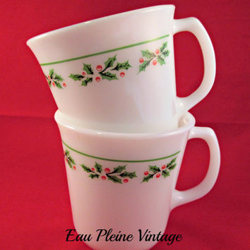 Corning Ware Holly Days | Christmas Coffee Tea Cocoa Mugs | Set of Two Pyrex Cups | Holiday Winter Decor