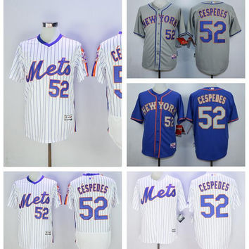 New Baseball 52 Yoenis Cespedes Jersey Pullover New York Mets Flexbase Jerseys Cool Base White Pinstripe Grey Blue 2015 World Series Patch