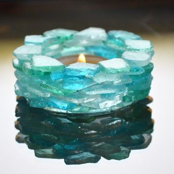 Beach Glass Candle Holder