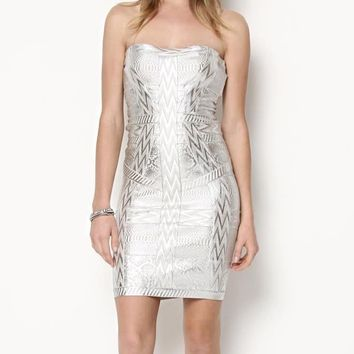 Herve Leger Marine Metallic Print Bandage Dress - Wardrobe Building Labels for Her ft Fendi, Escada and More - Modnique.com