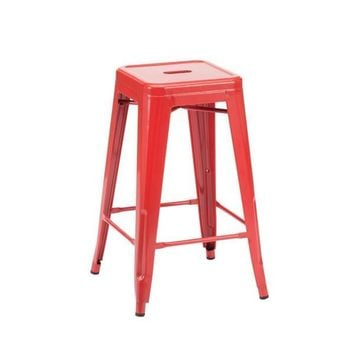 Dreux Glossy Red Steel Stackable Counter Stool (Set of 4)