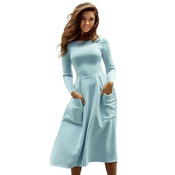 Light Blue Bateau Collar Casual Big Pocket Skater Dress