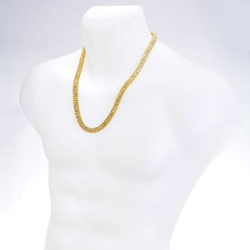 Jewelry Kay style Men's CZ Iced Out Gold Toned 4 mm Round Stone 2 Layer Tennis Chain Necklace