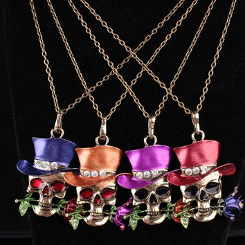 New Skull Flower Pendants & Necklaces Vintage Crystal Enamel Bronze Sweater Chain Long Necklace Magic Hallowmas Gifts