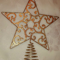 Gold Glitter Sparkling Christmas Tree Topper