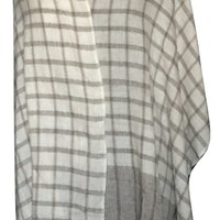 Cashmere Wool Blend Shawl with  Brown and White Checkered Pattern