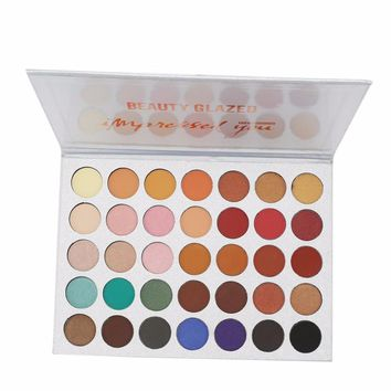 BEAUTYGLAZED 35Colors Pressed Powder Eyeshadow Pallete Cosmetics Makeup Natural Luminous Matte Shimmer Eye Shadow Palette Beauty