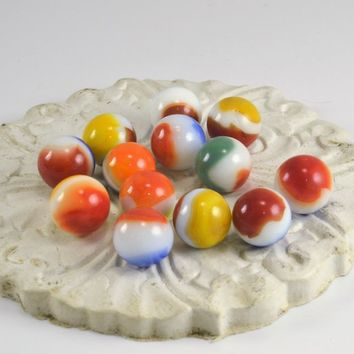 Glass Marbles - Vitro All Reds - Lot of 13 Playing Marbles - Pepsi Marbles - Craft Collectible Marbles