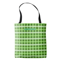 Personalized Green Plaid Tote Bag