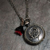 Antiqued Rose Pocketwatch Necklace by earthfirestudios on Etsy